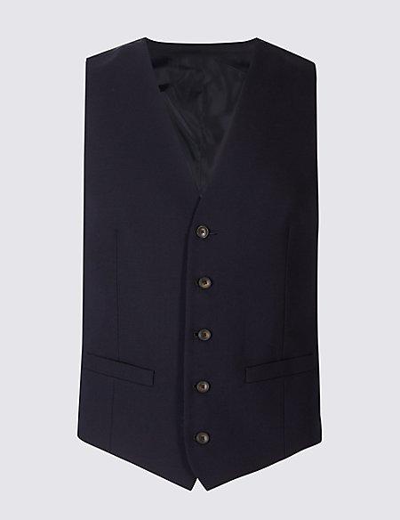 Navy Textured Slim Fit Waistcoat