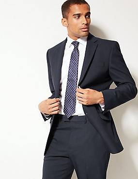 Navy Textured Regular Fit Suit