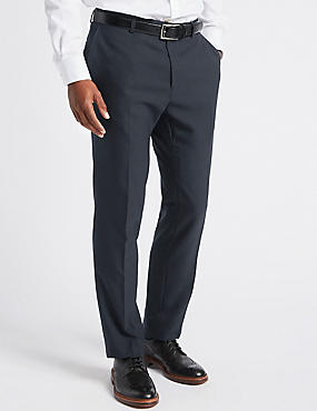 Big & Tall Navy Textured Slim Fit Trousers