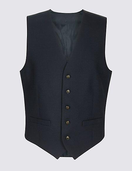 Navy Textured Regular Fit Waistcoat