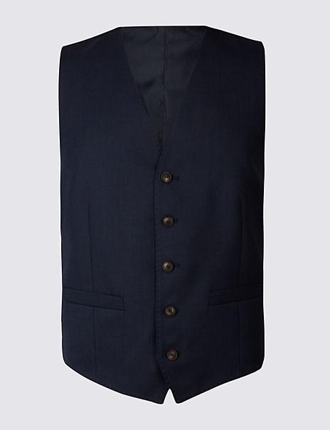 Indigo Textured Regular Fit Waistcoat