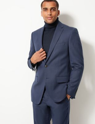 Indigo Textured Regular Fit Jacket