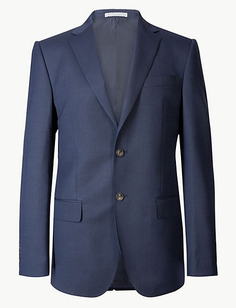 Indigo Textured Regular Fit Jacket