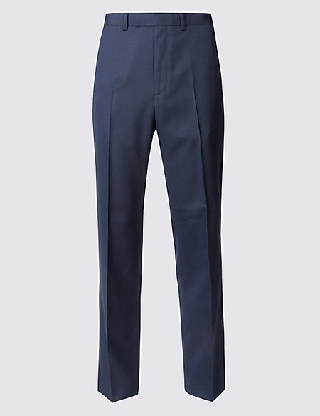 Indigo Textured Modern Slim Fit Trousers
