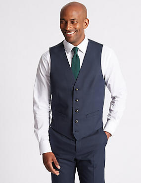 Indigo Textured Slim Fit Waistcoat