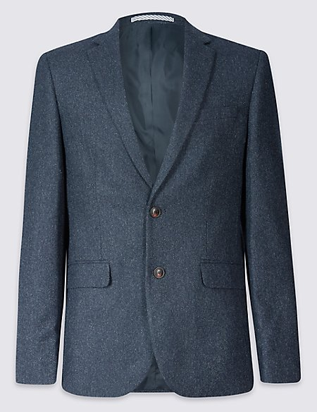 Wool Blend Jacket with Italian Fabric