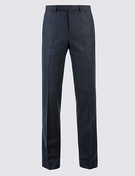 Wool Blend Textured Regular Fit Trousers