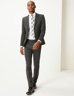 Charcoal Textured Skinny Fit Jacket