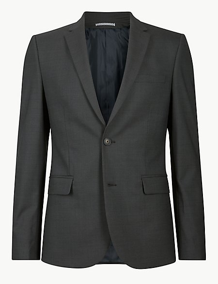 Charcoal Textured Modern Slim Fit Jacket
