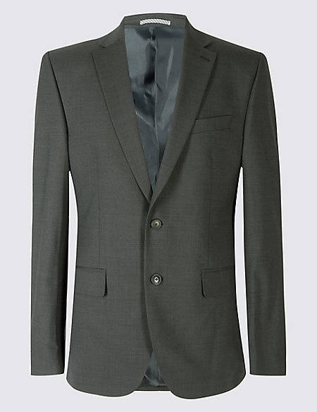 Charcoal Textured Tailored Fit Jacket