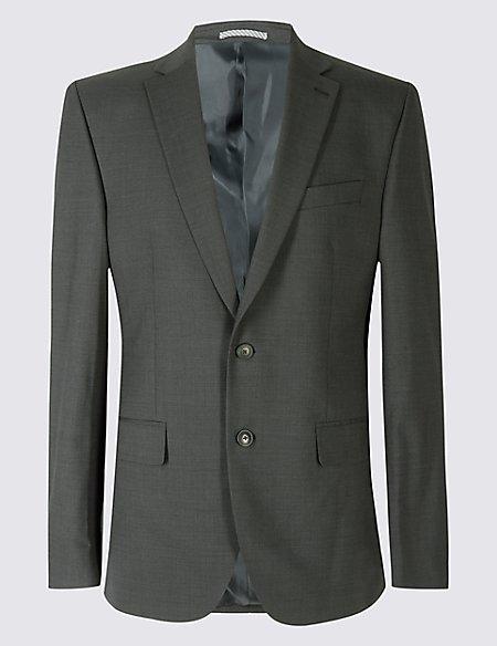 Charcoal Textured Regular Fit Jacket