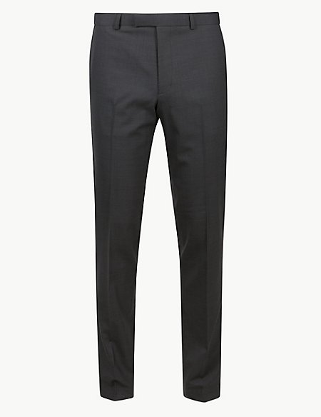 Charcoal Textured Modern Slim Fit Trousers
