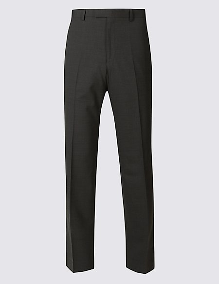 Charcoal Textured Tailored Fit Trousers