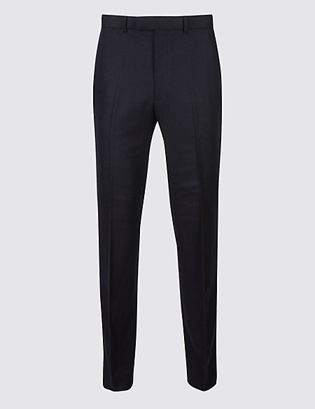 Navy Wool Blend Trousers with Italian Fabric