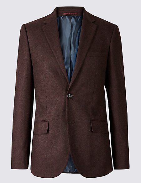 Burgundy Textured Tailored Fit Jacket