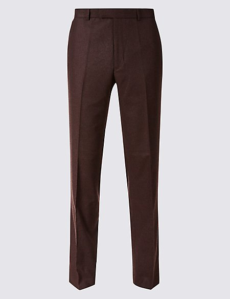 Burgundy Textured Tailored Fit Trousers