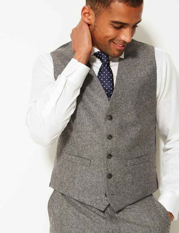 99febfd5 Textured Tailored Fit Waistcoat