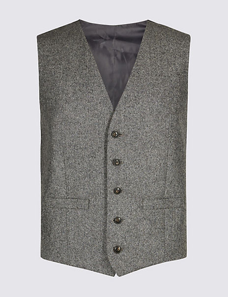 Textured Tailored Fit Waistcoat