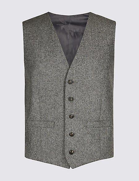 Textured Tailored Fit Waistcoat