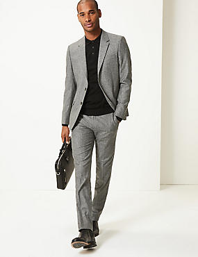 Big & Tall Textured Slim Fit Trousers