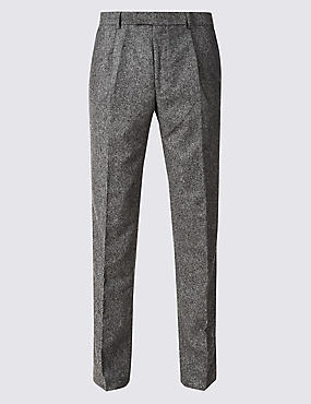 Textured Tailored Fit Pleated Trousers