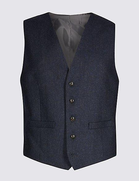 Indigo Textured Tailored Fit Waistcoat