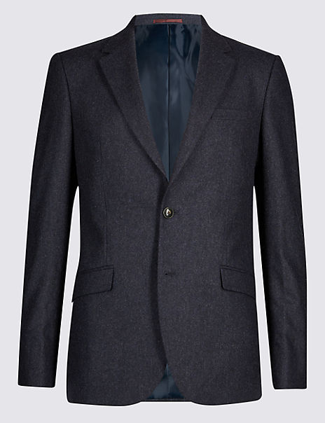 Indigo Textured Tailored Fit Jacket