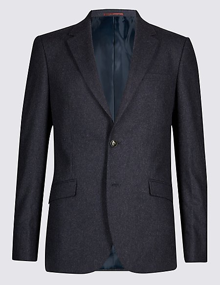 Indigo Textured Tailored Fit Jacket