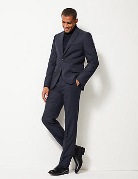 Indigo Textured Tailored Fit Trousers