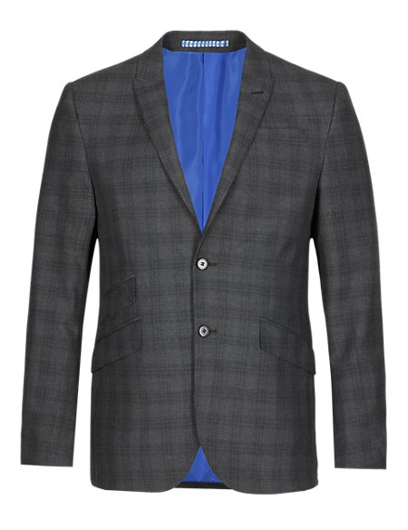 Charcoal Checked Superslim Fit Jacket