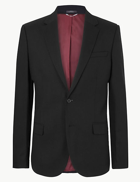 Black Textured Tailored Fit Jacket