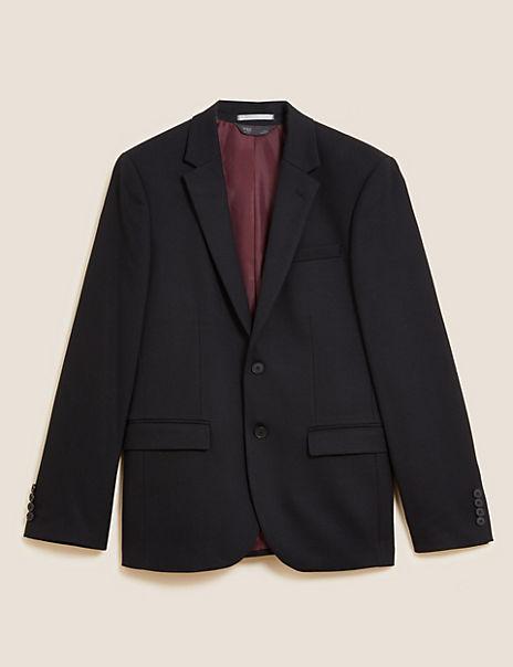 Black Textured Slim Fit Jacket