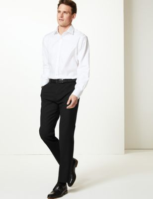 Black Textured Tailored Fit Trousers