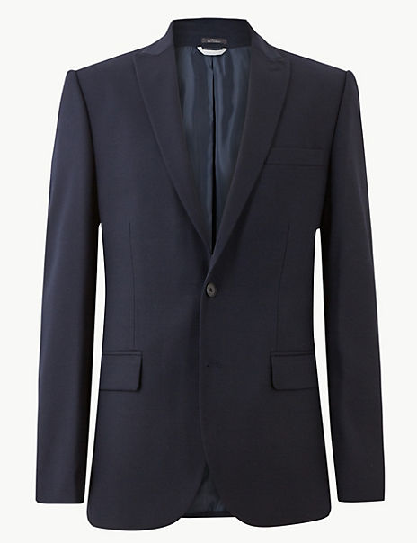 Navy Textured Tailored Fit Jacket