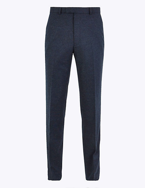 Tailored Fit Italian Wool Blend Trousers