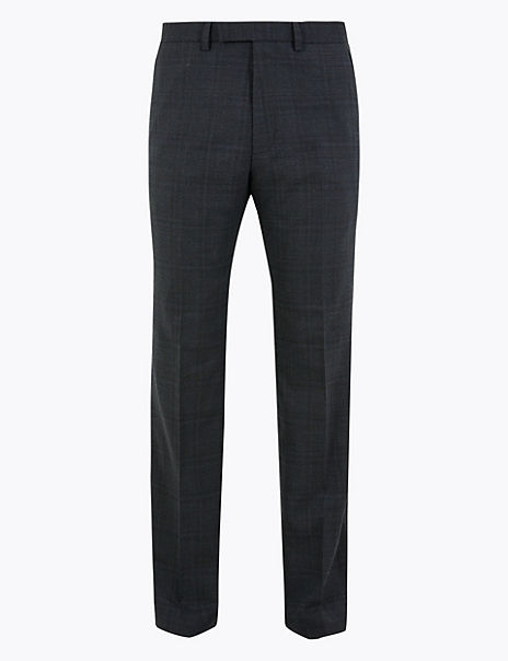Blue Checked Regular Fit Trousers