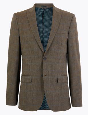 Brown Checked Slim Fit Jacket
