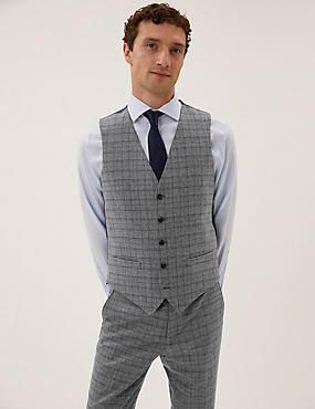 Wool Blend Check Waistcoat