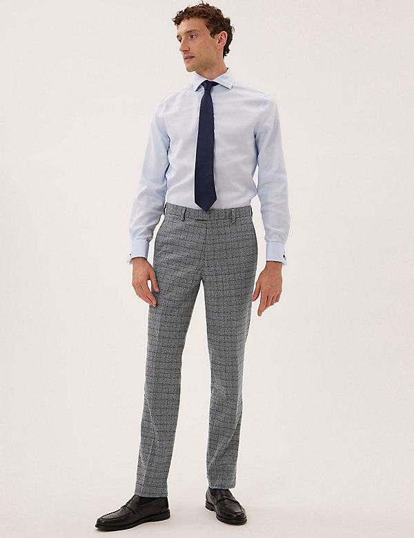 Slim Fit Italian Wool Check Trousers