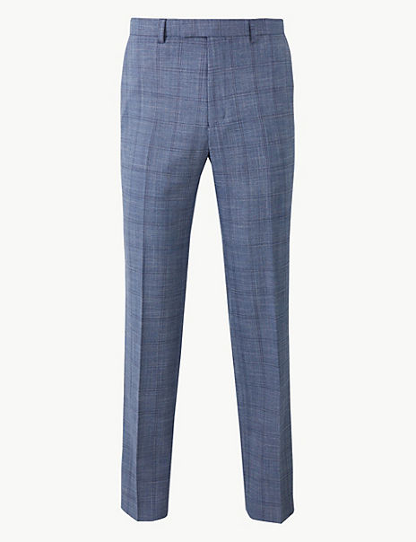 Blue Checked Tailored Fit Trousers