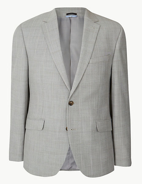 Checked Tailored Fit Jacket with Stretch