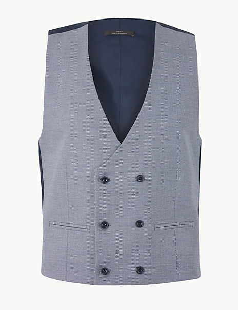 Blue Slim Fit Waistcoat