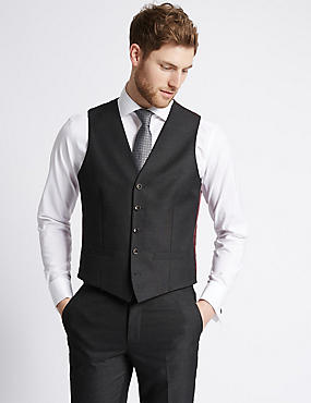 Charcoal Textured Slim Fit Waistcoat