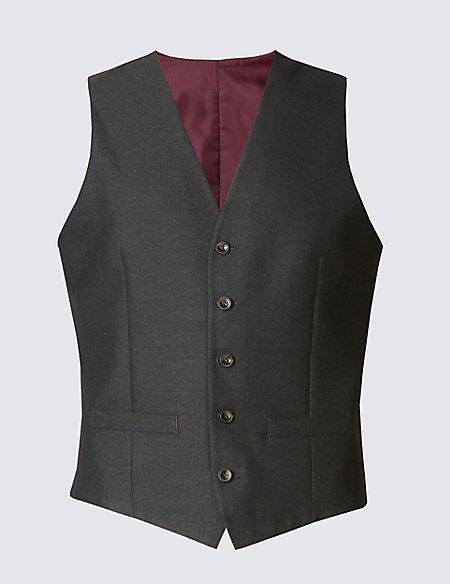 Charcoal Textured Slim Fit Waistcoat