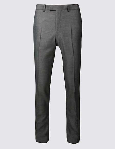 Grey Modern Slim Fit Trousers