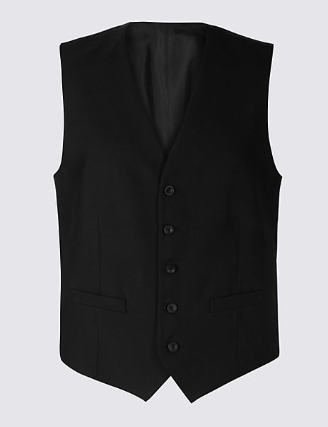 Black Tailored Fit Waistcoat