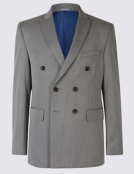 Grey Textured Double Breasted Jacket