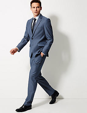Blue Textured Tailored Fit Suit
