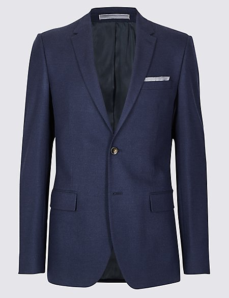 Indigo Textured Slim Fit Jacket