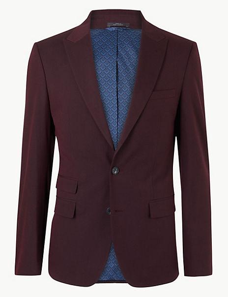 Burgundy Slim Fit Jacket with Stretch